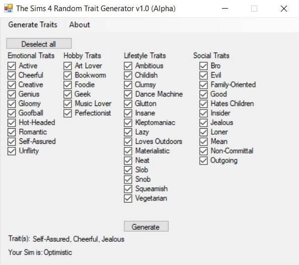 Sims 4 Random Trait Generator